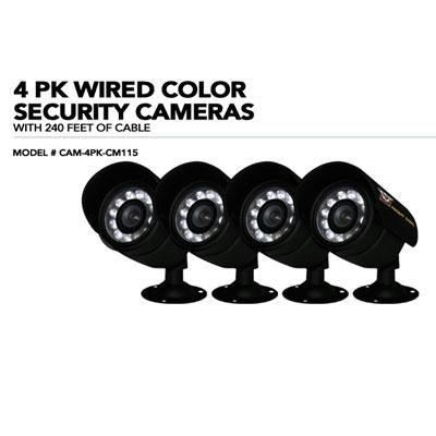 4 Pk Wired Color Security Cam