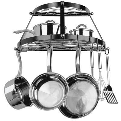 2 Shelf Wallmount Blk Pot Rack