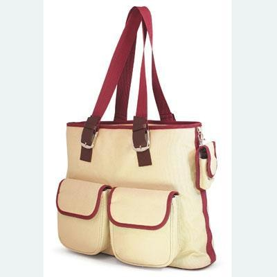 Canvas Tote White/Burgundy FD