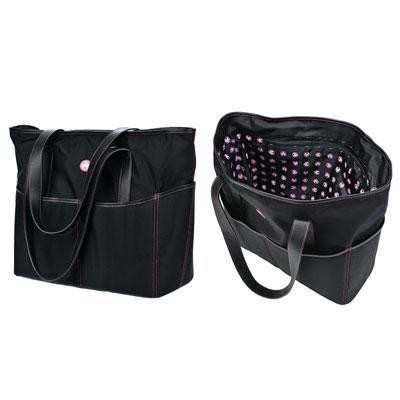 Large Tote - Black With Pink