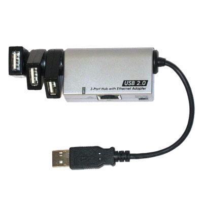 USB 2.0 3-port Hub w/ Ethernet
